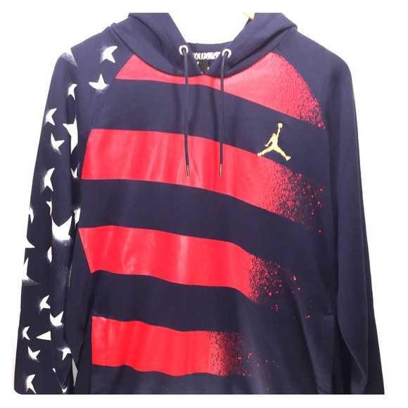 Nike AJ 7 Stars and Stripes Hoodie Sweatshirt Weiß M
