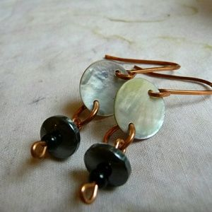 Jewelry - Handmade Shell Earrings, Hematite Copper Earrings