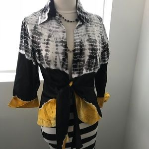 Tops - Black and White Tie Dye with a pop of Yellow Shirt