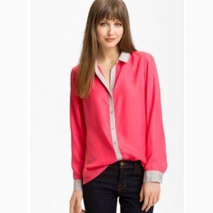Trouve silk button down blouse