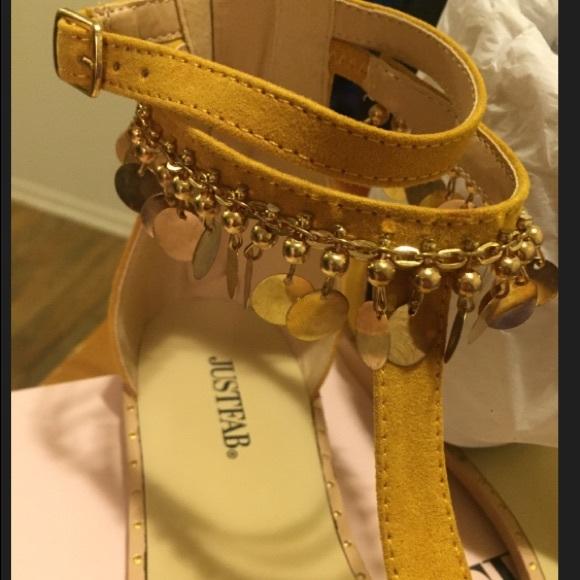 ShoesMustard Jeweled Flat Yellow JustFab Decorative SandalPoshmark EH2W9IDY