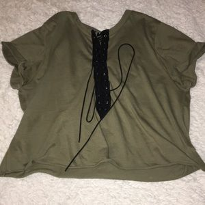 Olive green tie up shirt
