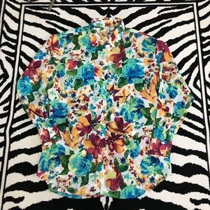 American Apparel Floral Print Button Up Blouse