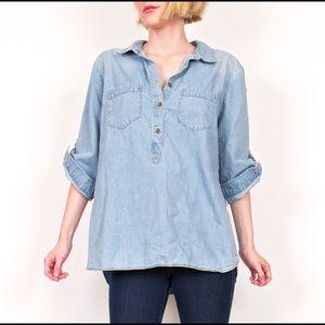 Liz Claiborne denim chambray tunic shirt top
