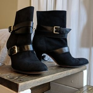 "Anyi Lu ""Rachel"" - black suede buckle boots 😍"