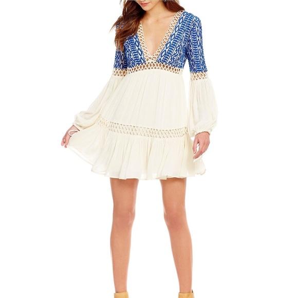 Free People Dresses | Blue And White Long Sleeve Mini Dress | Poshmark