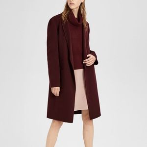 Theory Double Faced Essential Coat Wine