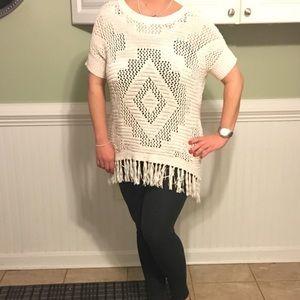 Jessica Simpson Fringe Cream Cutout Sweater M