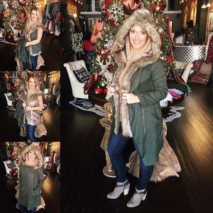 BB Dakota Gerrard Jacket with Faux Fur Trim