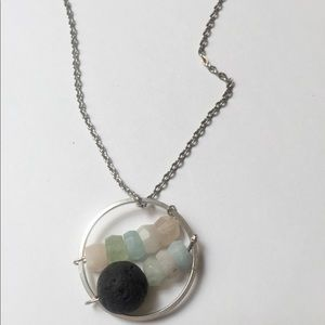 Gemstone infinity ring necklace diffuser lava