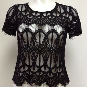 Decree Black Lace Top Size Small