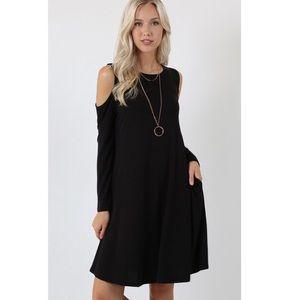 Dresses & Skirts - Black Cold Shoulder Dress with Pockets