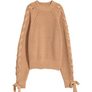 Cotton H&M Kint Sweater with Lacing - 4