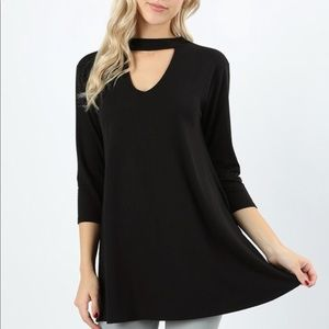 Tops - Black 3/4 Sleeves Choker Tunic with Pockets