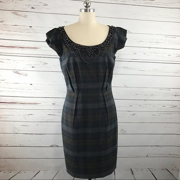 c5d8b31d8ce2 ANTONIO MELANI Dresses   Skirts - Antonio Melani Plaid Dress Beaded  Neckline ...