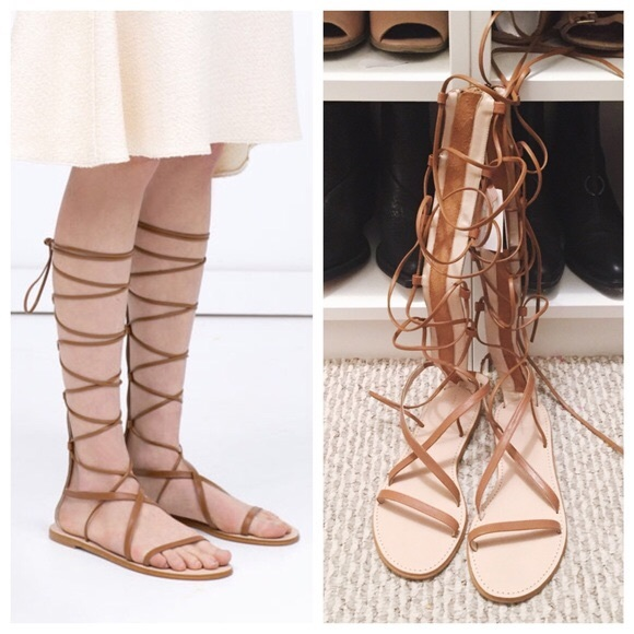 1a1e1cd00614 NWT ZARA Gladiator Flat Lace Up Leather Sandals