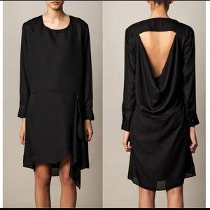 Acne Adelle Tape open back chiffon dress in black