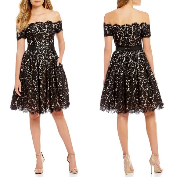 5e41cc01205b07 ELIZA J COCKTAIL OFF SHOULDER LACE DRESS