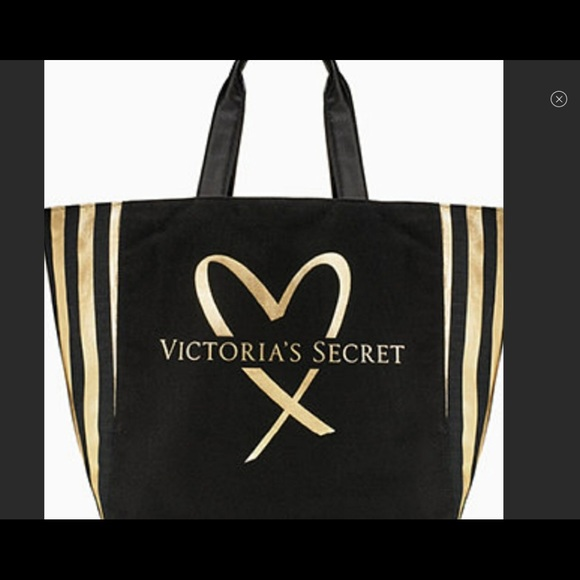 f64f537bd46a7f Victoria's Secret Bags | New Unused Victorias Secret Black And Gold ...