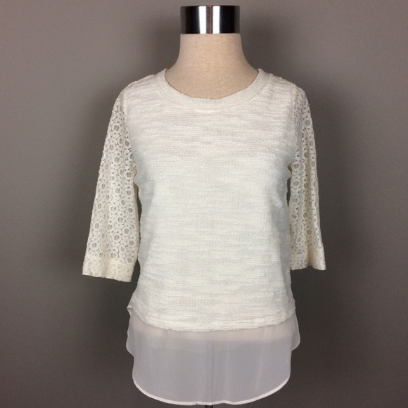 00b84fc75886f3 LC Lauren Conrad mixed media cream lace top