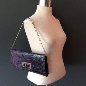 Lulu Townsend purple embossed shoulder bag clutch