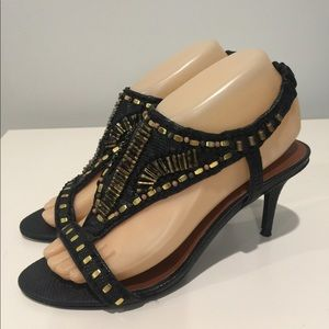 Elizabeth and James Black Gold Beaded Heels