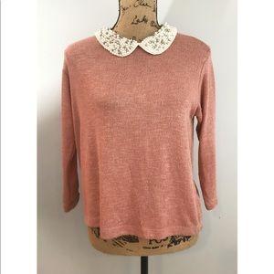 Moon Collection Pink Top Beaded Peter Pan collar