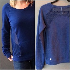 Fabletics mesh panel blue pullover active top