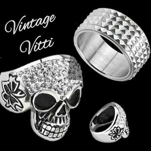 Other - Two Wide Cast Skull & Spinner Men's Rings