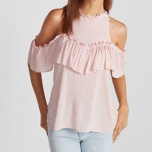 Vintage Pink High Neck Ruffle Cold Shoulder Blouse