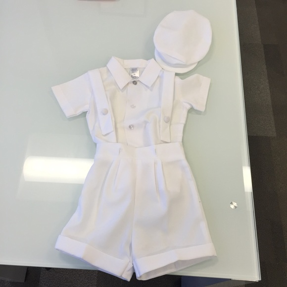 98b2164a9 Matching Sets | White Christening Baptism Suspenders And Short Set ...