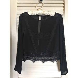 cropped lace long sleeve shirt 🖤
