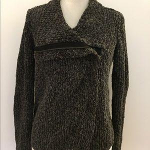 Lou & Grey gray asymmetrical zip Knit sweater