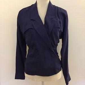 Tahari blue silk wrap deep v neck blouse