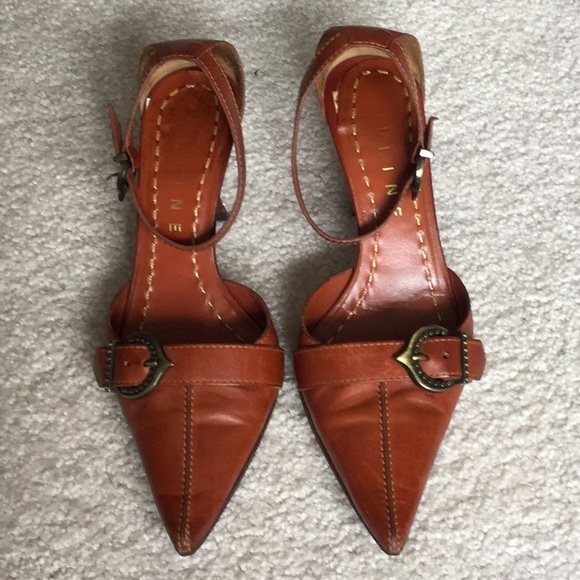 0f26ed3f634 Celine Shoes - CELINE cognac pointy toe sexy ankle strap heels