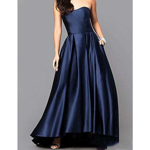Betsy & Adam Dresses   Indigo Blue Strapless Satin Ball Gown   Poshmark