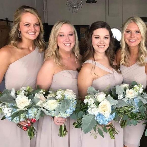 d0118401c03 David's Bridal Dresses & Skirts - David's Bridal Crinkle Chiffon Dress  Biscotti