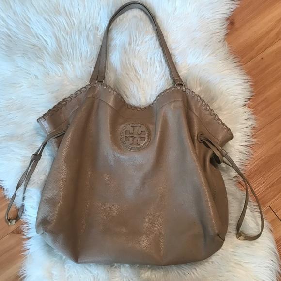 Tory Burch Handbags - Tory Burch Marion tote large tan soft leather EUC