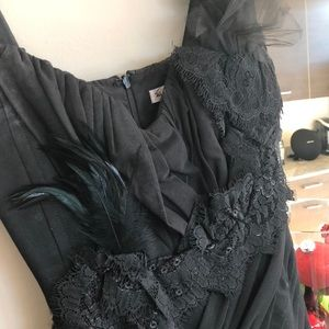 Feather and Lace Black dress