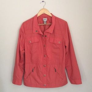 Chico's Coral Cotton Utility Jacket