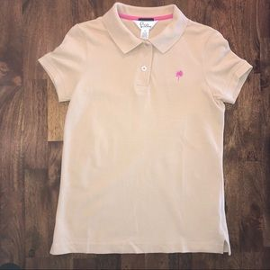 Lilly Pulitzer Shrunken Palm Polo Shirt Khaki