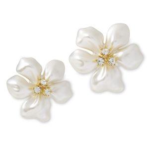 NWT Kenneth Jay Lane Faux Pearl Flower Earrings