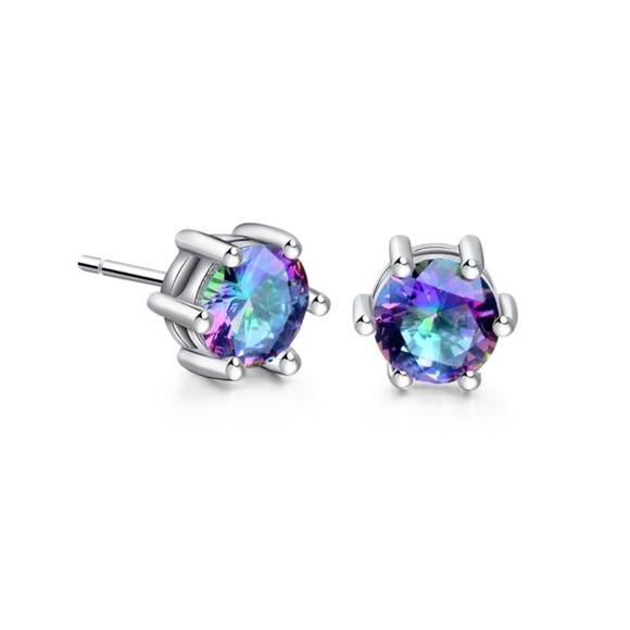 ff531ff63 Round Mystic Purple Crystal Silver Stud Earrings