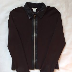 Cache Chocolate Brown Leather Trim Zip-up Cardigan