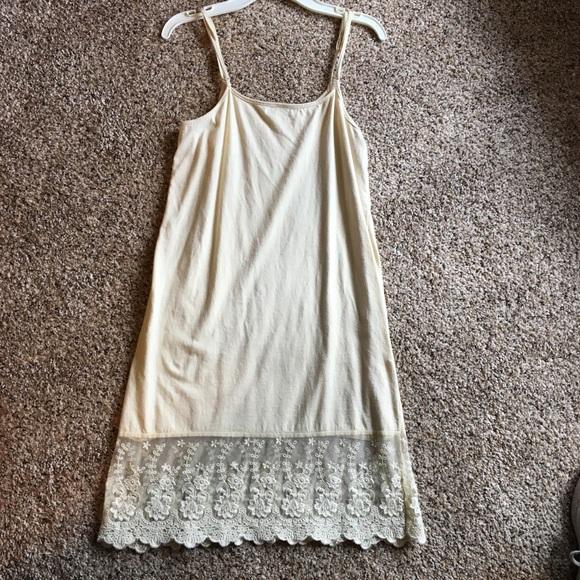 82f1f0396a41 Winter Lennon Dresses | Cream Spaghetti Strap Dress Slip With Lace ...