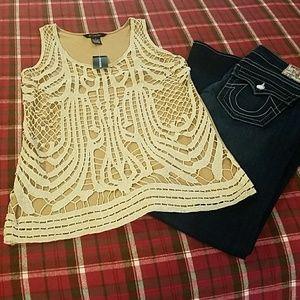 2/$15 Gold & Tan  Sleeveless Top