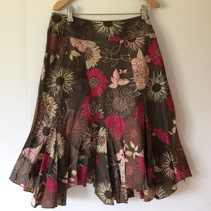 a.n.a. floral print cotton fit & flare skirt sz 10