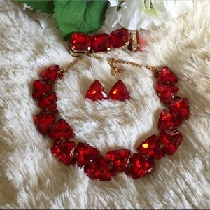 Iridescent Red  Necklace Bracelet Earring Set