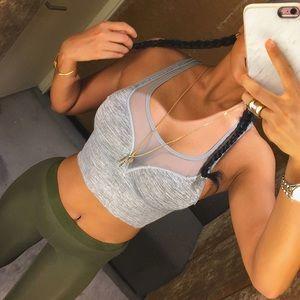 Tops - TODAY ONLY! 'Alda' Mesh Heather Grey Sports Bra