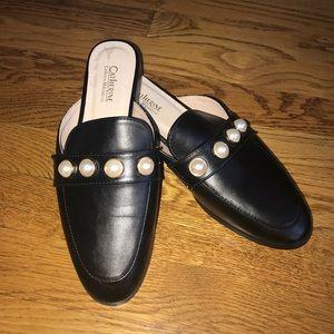 Catherine Malandrino pearl black slide mules 7.5